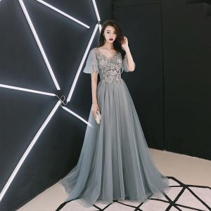 Elegant Grey Evening Dresses  2018 A-Line / Princess V-Neck Short Sleeve Pearl Beading Sweep Train Ruffle Backless Formal Dresses
