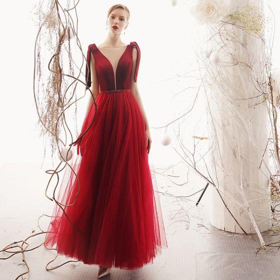 Elegant Burgundy Suede Evening Dresses  2019 A-Line / Princess See-through Deep V-Neck Sleeveless Beading Sash Floor-Length / Long Ruffle Backless Formal Dresses