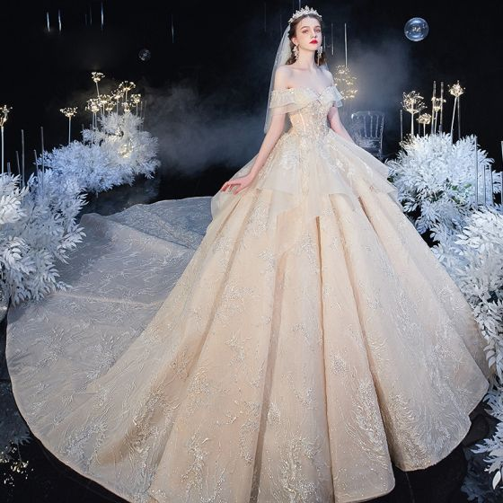 Chic / Beautiful Champagne Bridal Wedding Dresses 2020 Ball Gown Off-The-Shoulder Short Sleeve Backless Glitter Tulle Appliques Lace Beading Cathedral Train Ruffle
