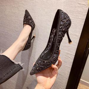 Sparkly Black Evening Party Rhinestone Pierced Pumps 2020 7 cm Stiletto Heels Pointed Toe Pumps