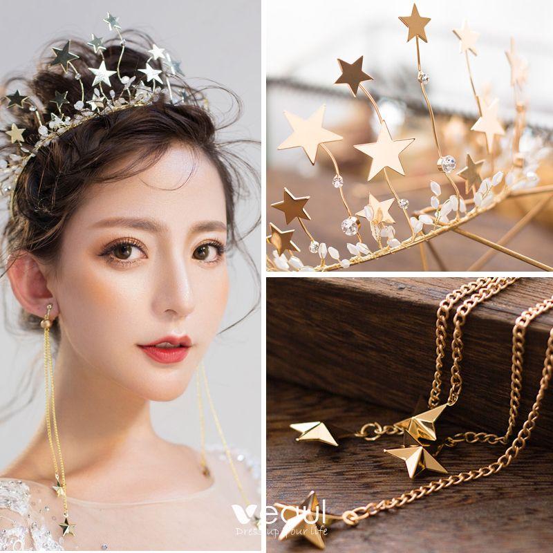 Modern / Fashion Gold Bridal Jewelry 2017 Metal Star Beading Rhinestone Headpieces Wedding Prom Accessories