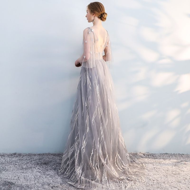 Chic / Beautiful Grey Evening Dresses  2019 A-Line / Princess V-Neck Bow Lace Flower 1/2 Sleeves Backless Sweep Train Formal Dresses