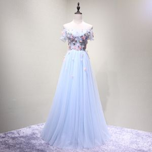 Chic / Beautiful Sky Blue Evening Dresses  2018 A-Line / Princess Off-The-Shoulder Short Sleeve Appliques Flower Beading Crystal Floor-Length / Long Ruffle Backless Formal Dresses
