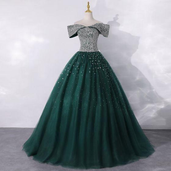 Gama Alta Verde Oscuro Bailando Vestidos de gala 2020 A-Line / Princess Fuera Del Hombro Manga Corta Lentejuelas Largos Ruffle Sin Espalda Vestidos Formales