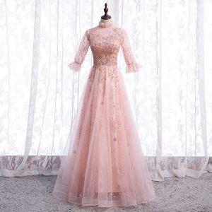 Vintage Rosa Durchsichtige Tanzen Ballkleider 2021 A Linie Stehkragen 1/2 Ärmel Applikationen Spitze Perlenstickerei Pailletten Lange Rüschen Festliche Kleider