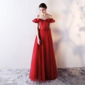 Chic / Belle Robe De Soirée 2018 Princesse De l'épaule Dos Nu Sans Manches Longue Robe De Ceremonie