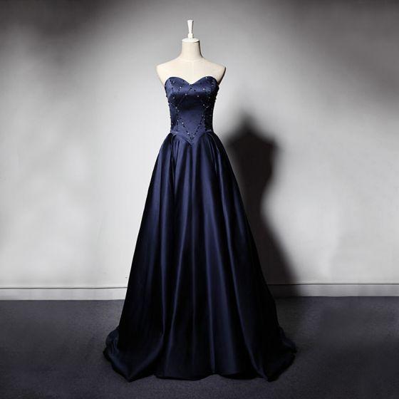 Elegant Navy Blue Satin Evening Dresses  2019 A-Line / Princess Sweetheart Sleeveless Beading Floor-Length / Long Ruffle Backless Formal Dresses