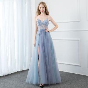Seksowne Błękitne Sukienki Na Bal 2020 Princessa Spaghetti Pasy Frezowanie Kryształ Cekiny Perła Bez Rękawów Bez Pleców Podział Przodu Długie Sukienki Wizytowe