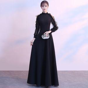 Moderne / Mode Noire Longue Robe De Soirée 2018 Princesse Col Haut Lacer Manches Longues Lanières Charmeuse Robe De Ceremonie
