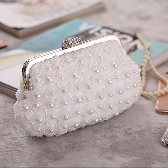 Chic / Beautiful White Flower Pearl Metal Clutch Bags 2018
