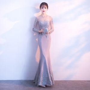 Elegant Grey Evening Dresses  2018 Trumpet / Mermaid Lace Flower Beading Pearl Scoop Neck Long Sleeve Floor-Length / Long Formal Dresses
