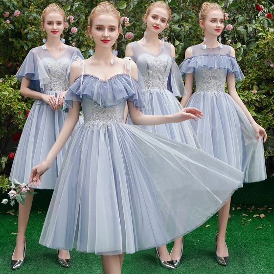Affordable Chic / Beautiful Sky Blue Bridesmaid Dresses 2019 A-Line / Princess Appliques Lace Tea-length Ruffle Backless Wedding Party Dresses