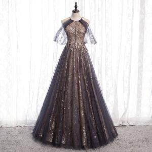 Charmant Noire Doré Glitter Robe De Bal 2020 Princesse Encolure Dégagée Perlage Cristal Paillettes Sans Manches Dos Nu Longue Robe De Ceremonie