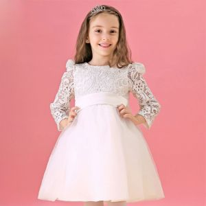 Langärmelige Weiße Blume Mädchen Prinzessin Kleid Kommunionkleider