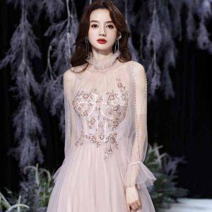 Beste Rosa Durchsichtige Tanzen Ballkleider 2021 A Linie Stehkragen Kurze Ärmel Perlenstickerei Glanz Tülle Lange Rüschen Rückenfreies Festliche Kleider