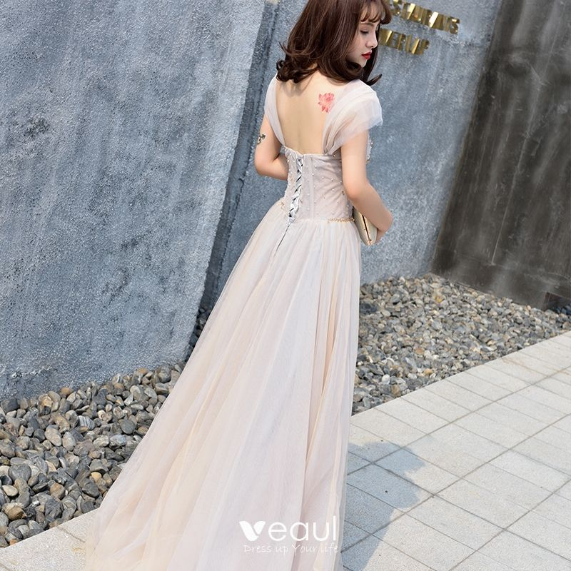 Elegant Grey Evening Dresses  2018 A-Line / Princess Shoulders Sleeveless Beading Floor-Length / Long Ruffle Backless Formal Dresses