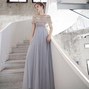 Haut de Gamme Bleu Ciel Transparentes Dansant Robe De Bal 2020 Princesse Encolure Dégagée Manches Courtes Perlage Paillettes Train De Balayage Volants Robe De Ceremonie