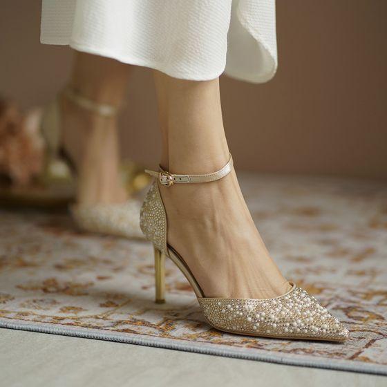 Charmig Guld Pärla Rhinestone Brudskor 2020 Läder Ankelband 7 cm Stilettklackar Spetsiga Bröllop Klackskor