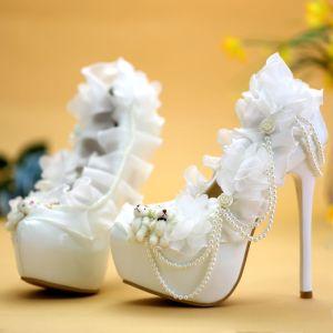Abordable Blanche Chaussure De Mariée 2019 Appliques Perle 14 cm Talons Aiguilles À Bout Rond Mariage Escarpins