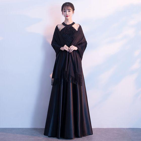797ff7ace0 Stylowe   Modne Czarne Długie Sukienki Wieczorowe 2018 Princessa Z Szalem  Charmeuse W paski Wieczorowe Sukienki Wizytowe