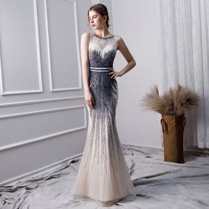 Luxury / Gorgeous Gradient-Color Handmade  Beading Evening Dresses  2019 Trumpet / Mermaid Scoop Neck Crystal Sleeveless Floor-Length / Long Formal Dresses