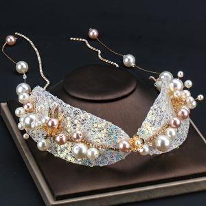 Schöne Gold Stirnbänder Haarschmuck Braut  2020 Legierung Strass Tülle Pailletten Perle Kopfschmuck Hochzeit Brautaccessoires
