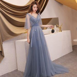 Elegant Grey Summer Evening Dresses  2019 A-Line / Princess V-Neck 1/2 Sleeves Appliques Sequins Sweep Train Ruffle Backless Formal Dresses