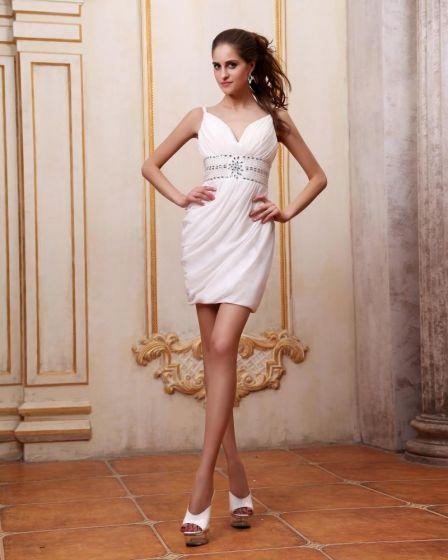 V Szyi Szyfonu Krótkie Mini Warkocz Kobiety Koralik Tanie Sukienki Koktajlowe Sukienki Wizytowe