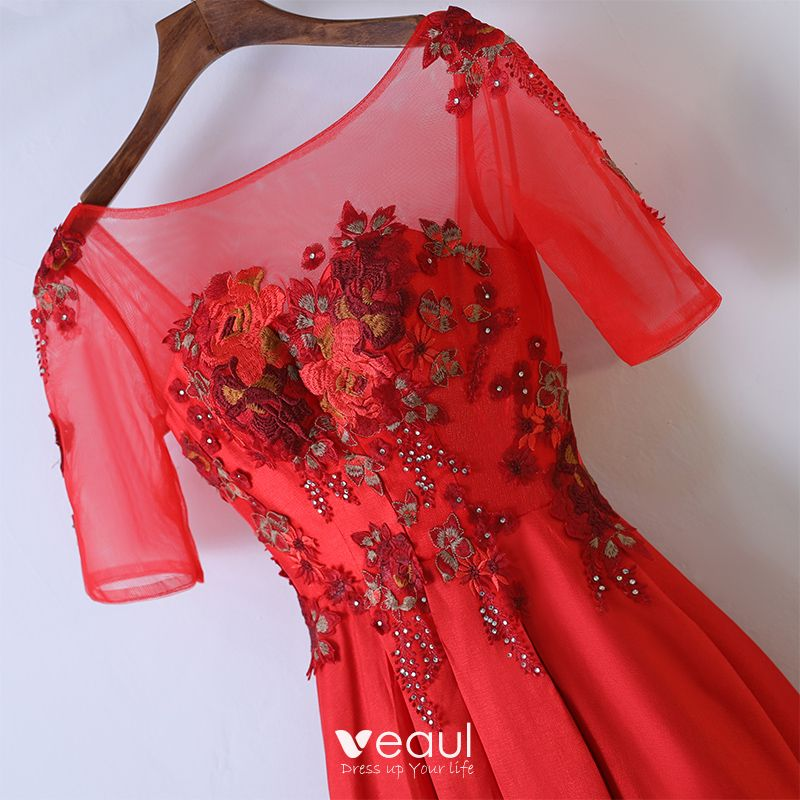 Chic / Beautiful Red Formal Dresses 2017 A-Line / Princess Lace Flower Sequins Scoop Neck 1/2 Sleeves Backless Ankle Length Evening Dresses