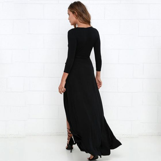 Sexy Black Maxi Dresses 2018 V-Neck Long Sleeve Split Front Ankle Length Womens Clothing