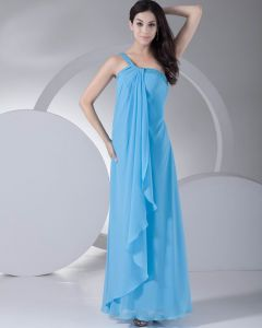 Fashion Chiffon Silk like Satin Beading One Shoulder Ankle Length Evening Party Dress