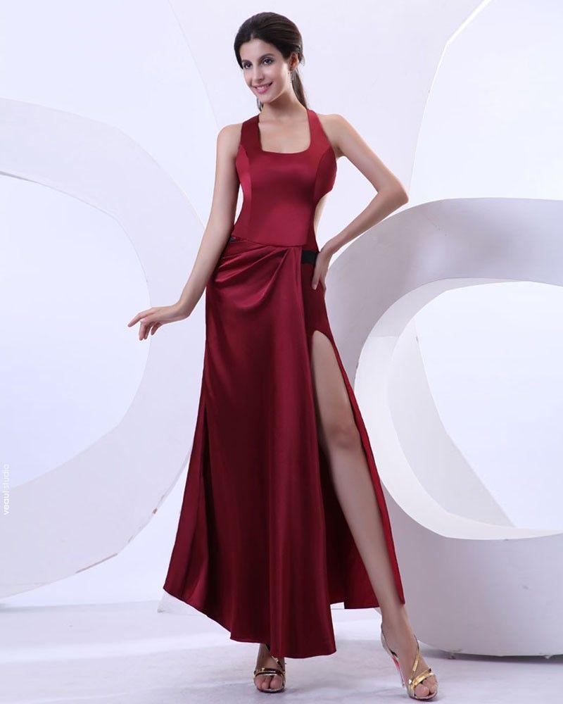 Charmeuse Ruffles Halter Slit Floor Length Prom Dresses