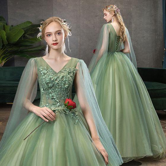 Elegant Lime Green Prom Dresses 2020 Ball Gown V-Neck Beading Rhinestone Lace Flower Short Sleeve Backless Floor-Length / Long Formal Dresses