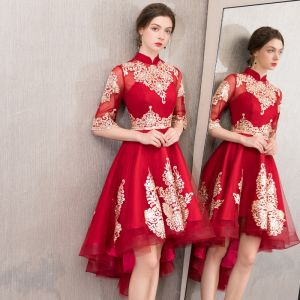 Chic / Beautiful Burgundy Cocktail Dresses 2019 A-Line / Princess High Neck Gold Lace Flower 1/2 Sleeves Asymmetrical Formal Dresses