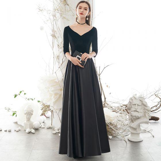 Modest / Simple Black Evening Dresses  2020 A-Line / Princess Suede V-Neck Bow 1/2 Sleeves Backless Floor-Length / Long Formal Dresses