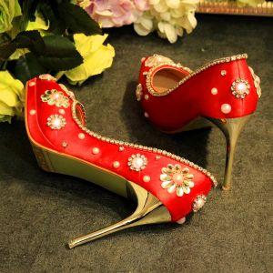 Encantador Rojo Zapatos de novia 2019 Cuero Perla Rhinestone 10 cm Stilettos / Tacones De Aguja Punta Estrecha Boda Tacones