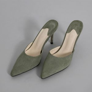 Modest / Simple Green Street Wear Suede Womens Sandals 2020 8 cm Stiletto Heels Pointed Toe Sandals