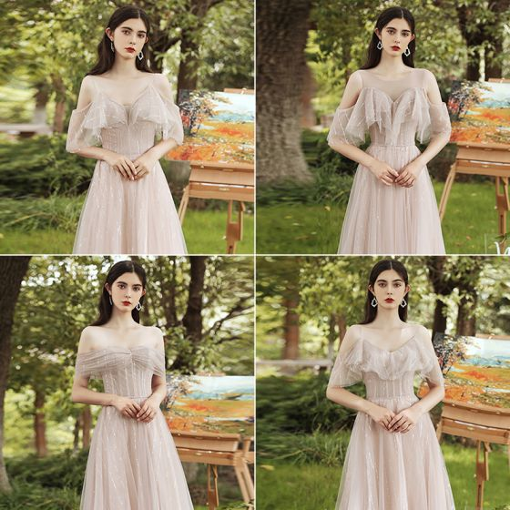 Modest / Simple Chic / Beautiful Blushing Pink Bridesmaid Dresses 2021 A-Line / Princess Scoop Neck Rhinestone Sequins Short Sleeve Backless Floor-Length / Long Bridesmaid Wedding Party Dresses