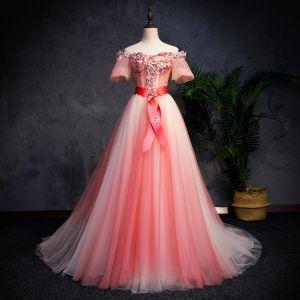 Modern / Fashion Watermelon Gradient-Color Prom Dresses 2019 A-Line / Princess Off-The-Shoulder Short Sleeve Appliques Lace Pearl Sash Sweep Train Ruffle Backless Formal Dresses