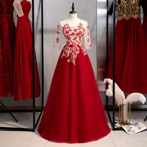 Chic / Beautiful Burgundy Evening Dresses  2020 A-Line / Princess Scoop Neck Beading Pearl Lace Flower 1/2 Sleeves Floor-Length / Long Formal Dresses