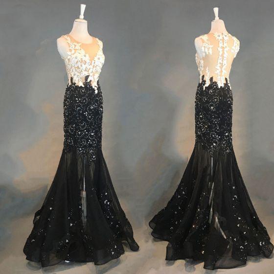 Luxus / Herrlich Schwarz Abendkleider 2018 Mermaid Applikationen Mit Spitze Perlenstickerei Kristall Strass Rundhalsausschnitt Ärmellos Lange Festliche Kleider