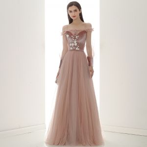 Elegant Pearl Pink Suede Evening Dresses  2020 A-Line / Princess Off-The-Shoulder Puffy Long Sleeve Sash Appliques Flower Beading Floor-Length / Long Ruffle Backless Formal Dresses