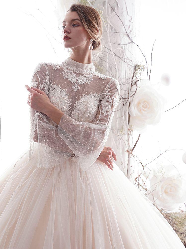 Schöne Champagner 2019 Brautkleider / Hochzeitskleider A Linie Stehkragen Spitze Blumen Perlenstickerei Kristall 3/4 Ärmel Rückenfreies Lange