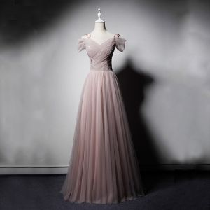 Elegant Pearl Pink Evening Dresses  2019 A-Line / Princess Off-The-Shoulder Short Sleeve Sequins Beading Glitter Tulle Floor-Length / Long Ruffle Backless Formal Dresses