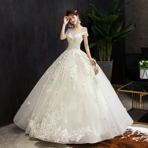 Elegant Champagne Wedding Dresses 2019 Ball Gown Scoop Neck Beading Lace Flower Short Sleeve Backless Floor-Length / Long