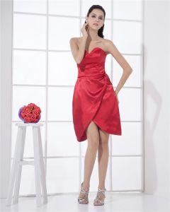 Satin Sweetheart Rufsa Applique Slida Kort Mini Kvinnors Cocktail Klänning Festklänningar