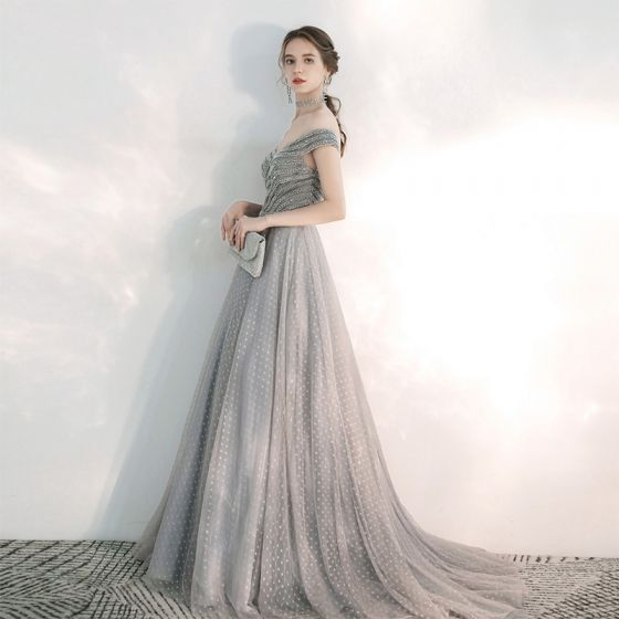 Elegant Grey Evening Dresses  2020 A-Line / Princess Off-The-Shoulder Short Sleeve Beading Spotted Tulle Sweep Train Ruffle Backless Formal Dresses