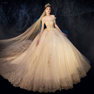 Bling Bling Champagne Wedding Dresses 2019 Ball Gown Off-The-Shoulder Short Sleeve Backless Beading Appliques Lace Glitter Tulle Royal Train Ruffle
