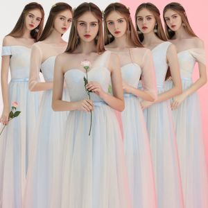 Affordable Sky Blue Bridesmaid Dresses 2018 A-Line / Princess Bow Sash Floor-Length / Long Ruffle Backless Wedding Party Dresses