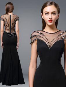 Vestidos De Noche De Seda Negro Rhinestone Abalorios Escote Sin Espalda 2